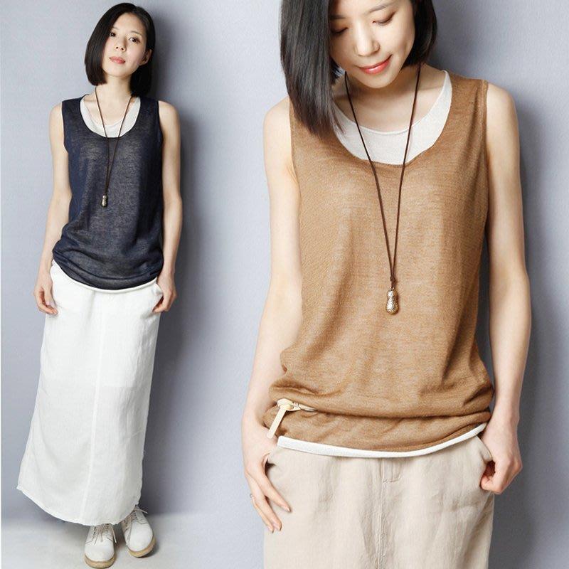 假兩件棉麻背心女無袖上衣寬鬆大碼亞麻吊帶針織打底衫外穿薄款夏