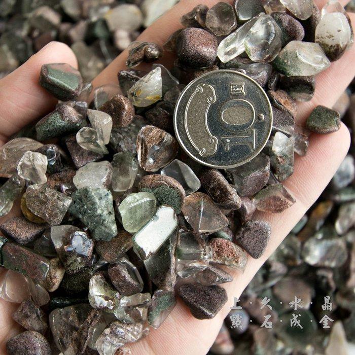 『上久水晶』__500g150元_綠幽靈水晶碎石碎料__五行水晶