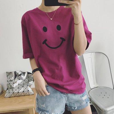 CHERRY LALA 韓國單實拍幸福笑臉寬鬆短袖圓領T恤 H05222 (紫、白現貨) 可搭正韓牛仔 韓妮 chic