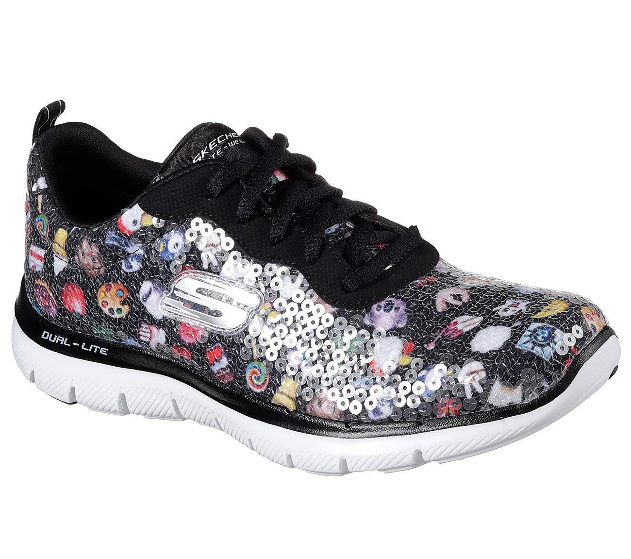 新貨到~SKECHERS Flex Appeal 2.0花花亮片鞋 12612 BKMT記憶泡沫緩衝舒適鞋墊