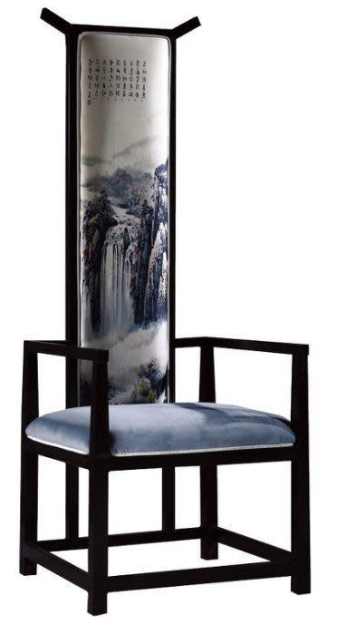 【DH】商品貨號N987-12名稱《南台灣》迎賓椅。真絲絨布3D印 染。新東方風格迎賓椅。主要地區免運費