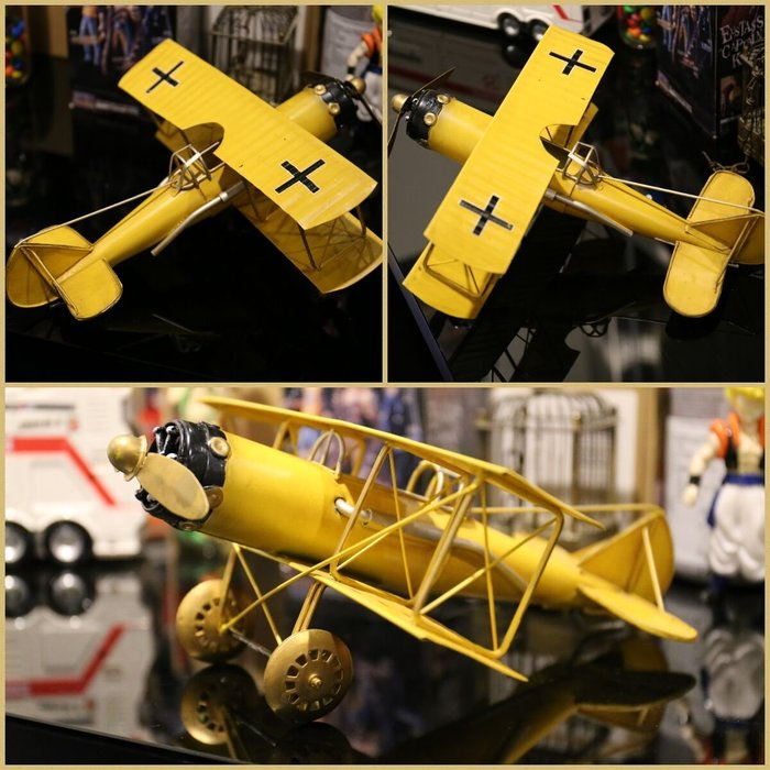 @3C 柑仔店@聖誕 交換 禮物 鐵製 復古螺旋槳飛機 黃 鐵皮 飛機 模型 家居飾品 懷舊  歐式 英國鄉村