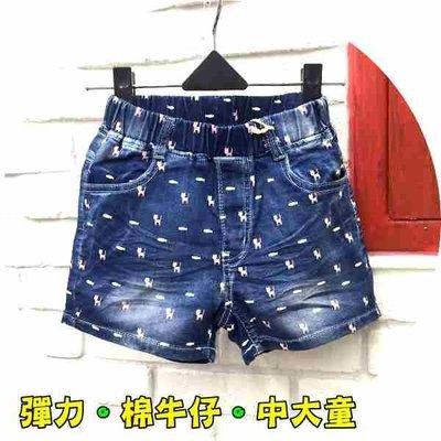 【班比納精品童裝】彈力滿版貓咪魚魚棉牛仔短褲【中大童】-藍【BB17041423】