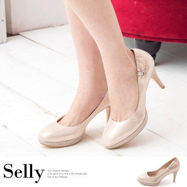Selly *沙粒*(MIT89)MIT花嫁系列-閃耀金蔥羊皮鑽飾高跟鞋-幸福粉*現貨