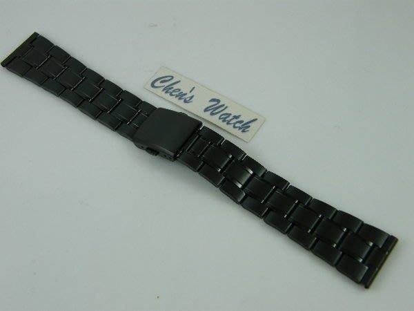 錶帶屋 12mm 14mm 16mm  18mm  20mm 平頭pvd黑色不銹鋼替代各式相容原廠錶帶 現貨商品
