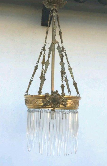 【波賽頓-歐洲古董拍賣】歐洲/西洋古董 法國古董 19世紀 洛可可風格黃銅小天使水晶流蘇吊燈/燭台1燈(已售出)