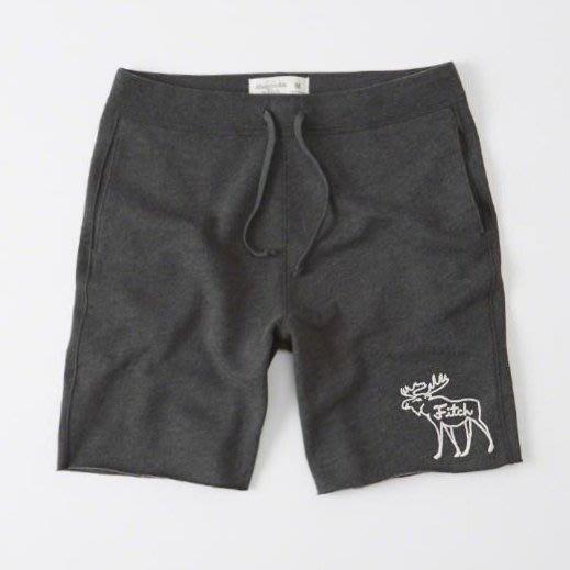 美國百分百【全新真品】Abercrombie & Fitch 褲子 AF 短褲 棉褲 休閒褲 大麋鹿 鐵灰 男 G400