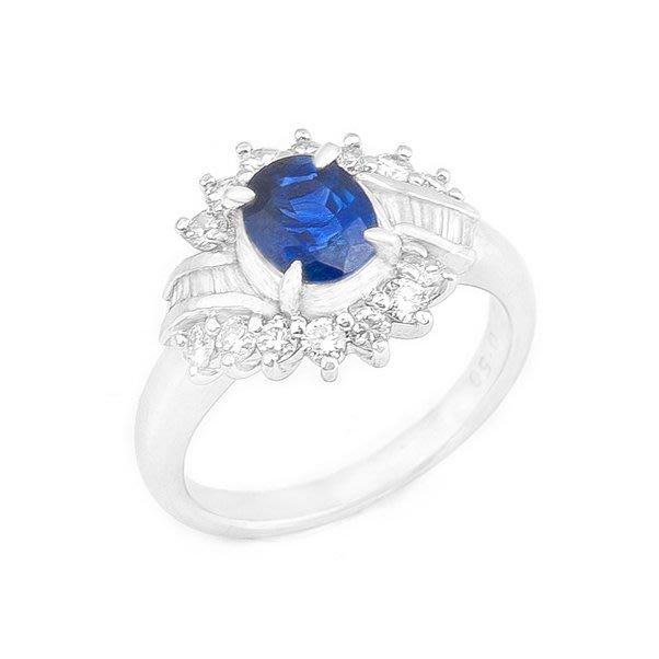 【JHT 金宏總珠寶/GIA鑽石專賣】1.05ct天然藍寶鑽戒/材質:PT900(JB21-A31)
