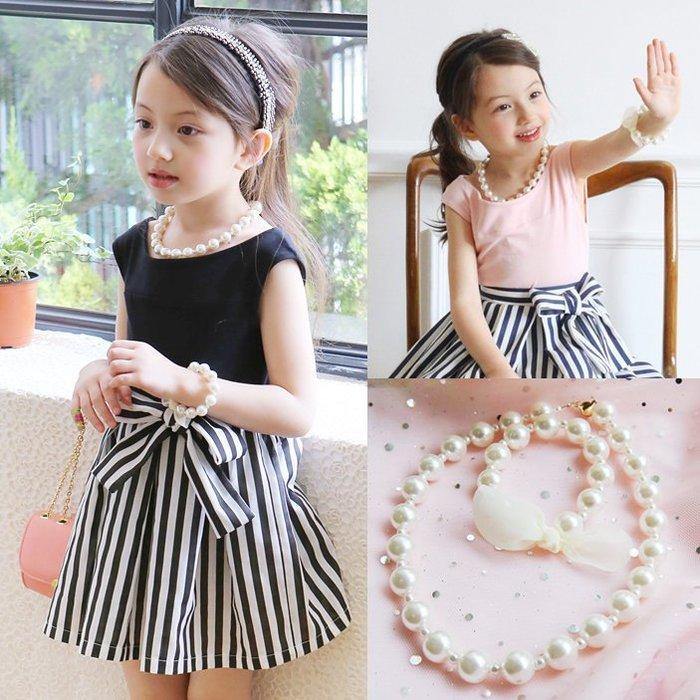 ~草莓花園~C61韓國 兒童髮飾 女童淑女珍珠項鍊手鏈2件套