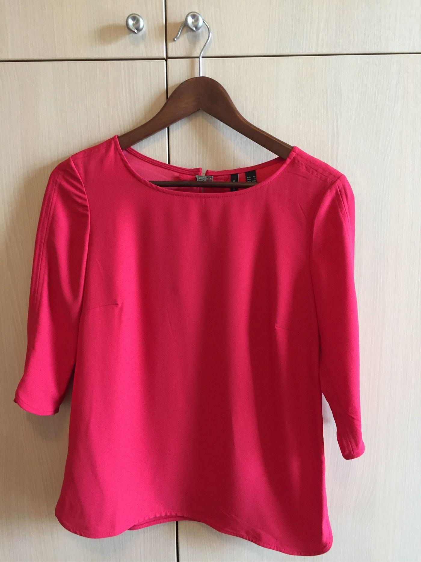 MANGO紅色七分袖上衣