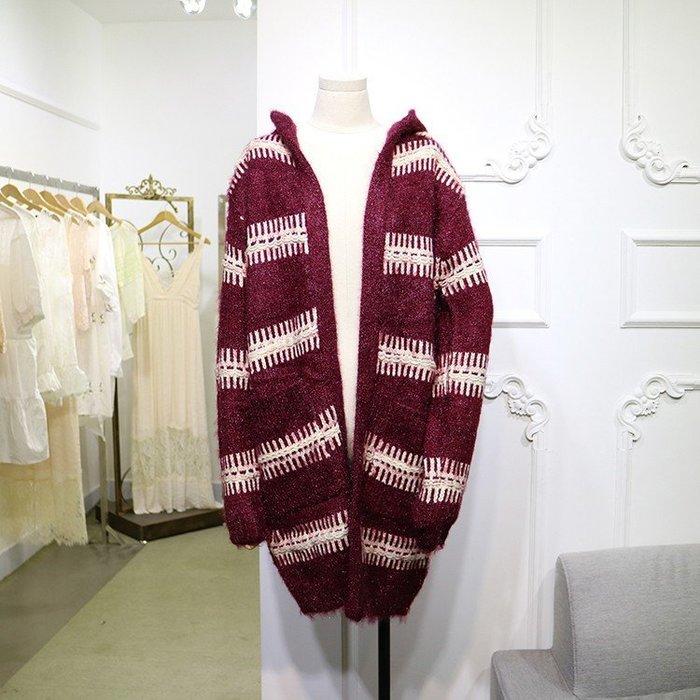 CHOU CHOU→寬鬆慵懶橫條紋撞色連帽針織毛衣長版外套~酒紅色