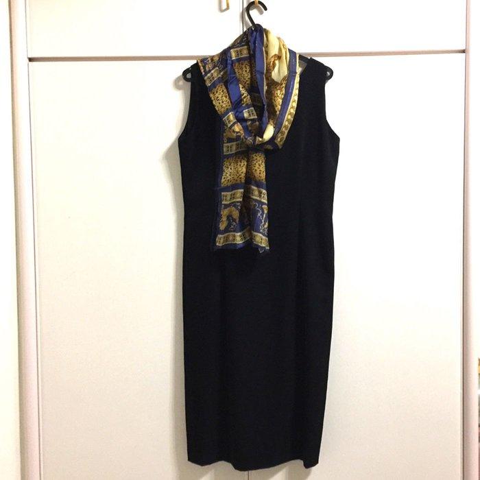 高 黑藍 豹紋 動物 圖騰印花 薄圍巾 薄絲巾 晚宴 宴會用