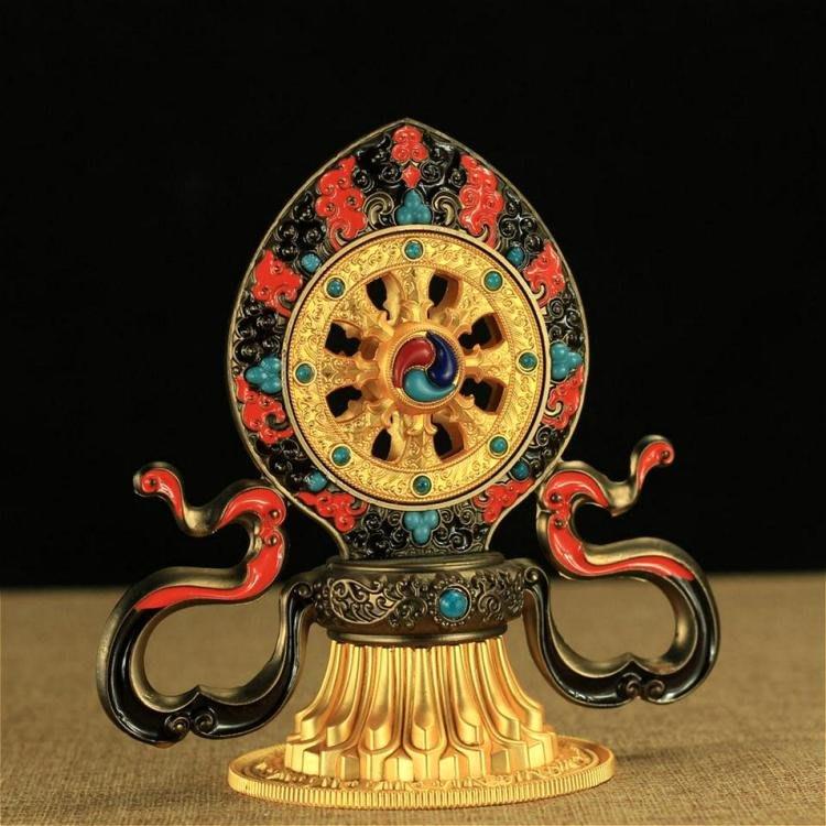 【弘慧堂】 雙鹿法輪擺件 圓通佛具密宗佛教用品法器轉法輪 七珍寶佛堂供奉擺件