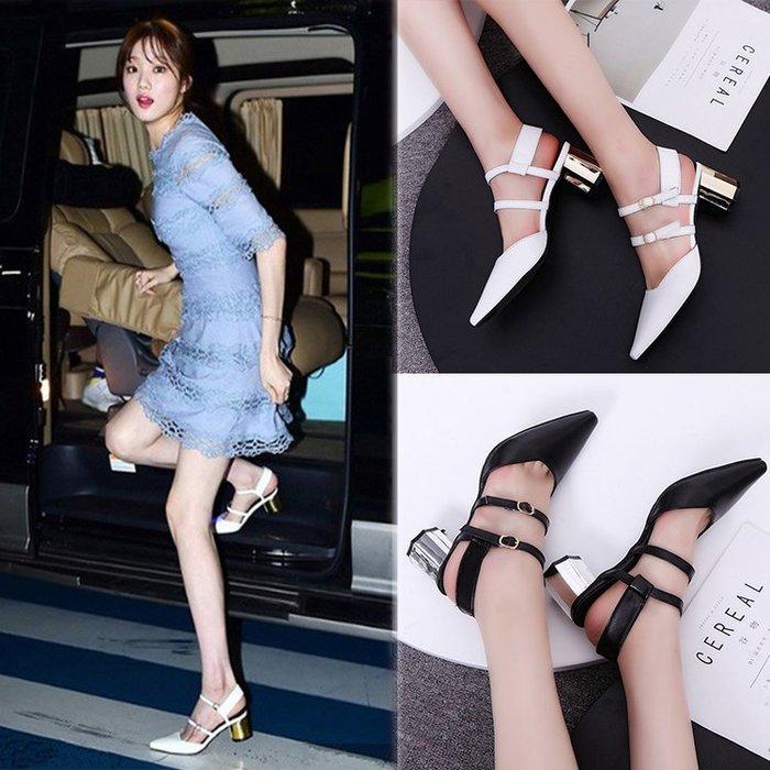 【兩件 】2017  女士尖頭涼鞋鏤空高跟鞋粗跟綁帶包頭百搭女鞋子