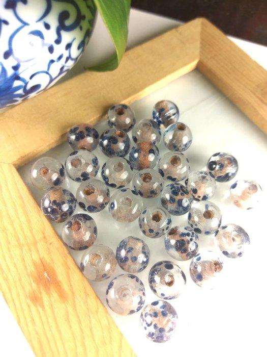 「糖巷」老琉璃,宮羅褶褶消金色:水晶蘸藍點金珠