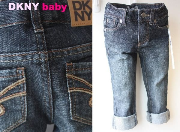 【DKNY BABY】100% 全新正品 中性 復古 彈性 反摺 牛仔褲 *腰部隱藏式鬆緊帶* 【3T 4T】NEW