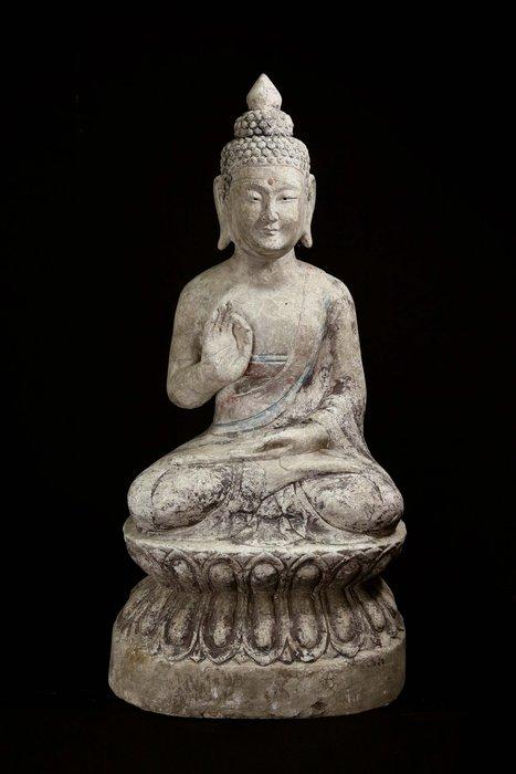 《君璽珍寶》青石雕礦物彩繪釋迦牟尼古佛坐像.老件擺件.信徒結緣.超值回饋