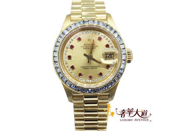 *奢華大道國際精品*【W0428】ROLEX 18黃K 69178 原鑲10紅寶 鑽圈紅蟳女錶