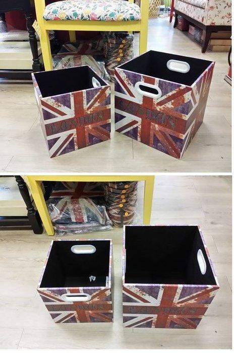 美生活館--全新鄉村風貼圖 二入一組 收納箱/置物箱盒玩具箱鞋架 --刷舊 英國國旗款