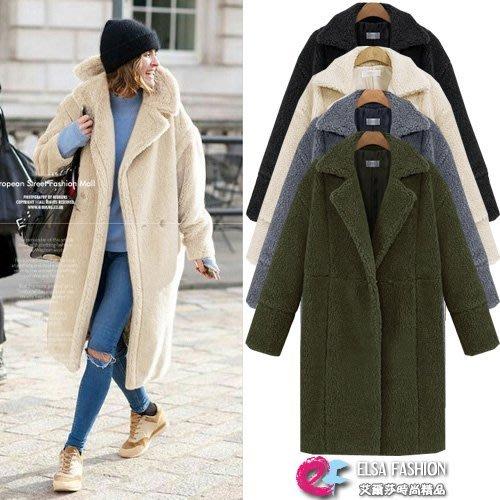 翻領大衣外套 溫暖系列仿羊毛翻領長大衣 艾爾莎【TAK6051】