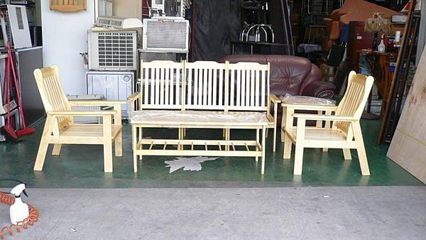 樂居二手家具館 A769*全新實木木製沙發*實木組椅含大茶几/邊桌/矮桌/泡茶桌椅
