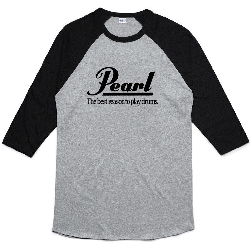 Pearl Logo 七分袖T恤 2色 鼓銅鈸金屬龐克搖滾樂團