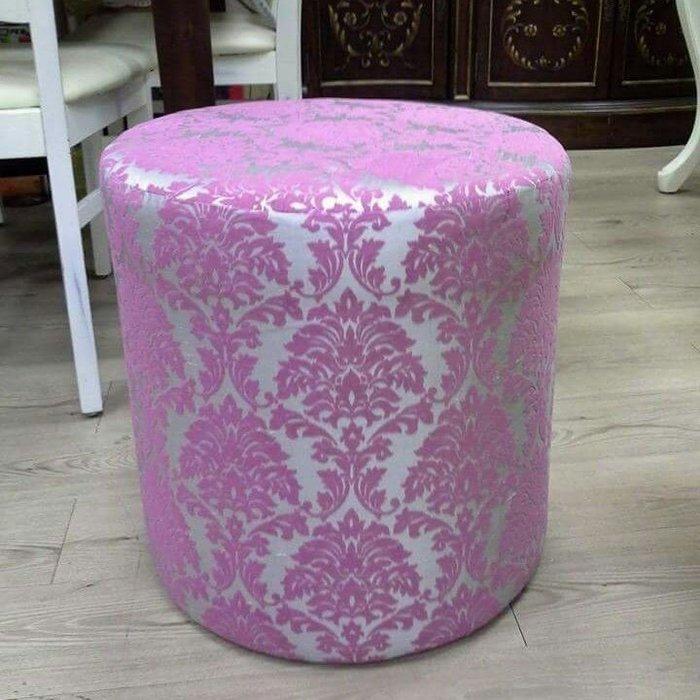 美生活館 --- 歐式古典粉紫/灰綠立體圖騰灰圓型沙發凳/腳凳/化妝凳玄關椅洽談椅 店面居家民宿婚紗拍照