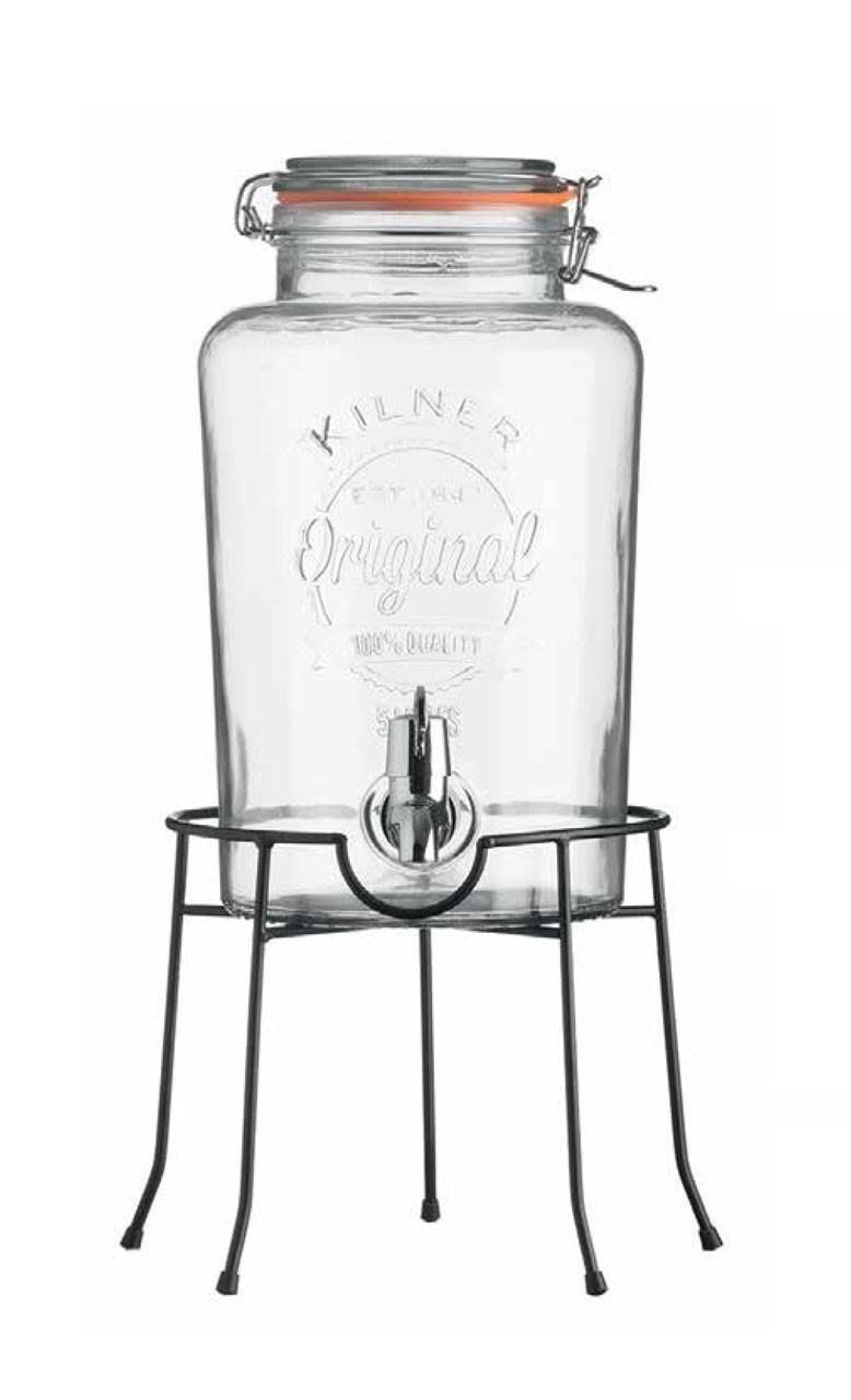 【英國 Kilner】經典款派對野餐飲料桶組(含桶架) 5L 玻璃飲水器 玻璃飲料桶 玻璃桶附水龍頭開關 玻璃密封罐