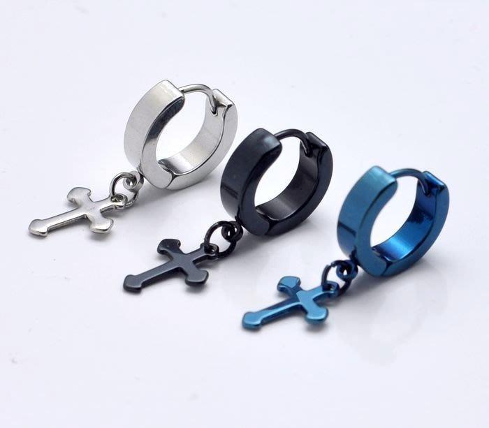 ☆追星☆ 1396十字架 圓扣式耳環(1個)鈦鋼 耳骨耳環SJ利特JYJ在中 耳針 壓扣式耳環