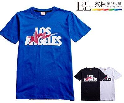 ☆衣林魔力屋☆美式LOS AWGELES星星特效圓領短T/3色