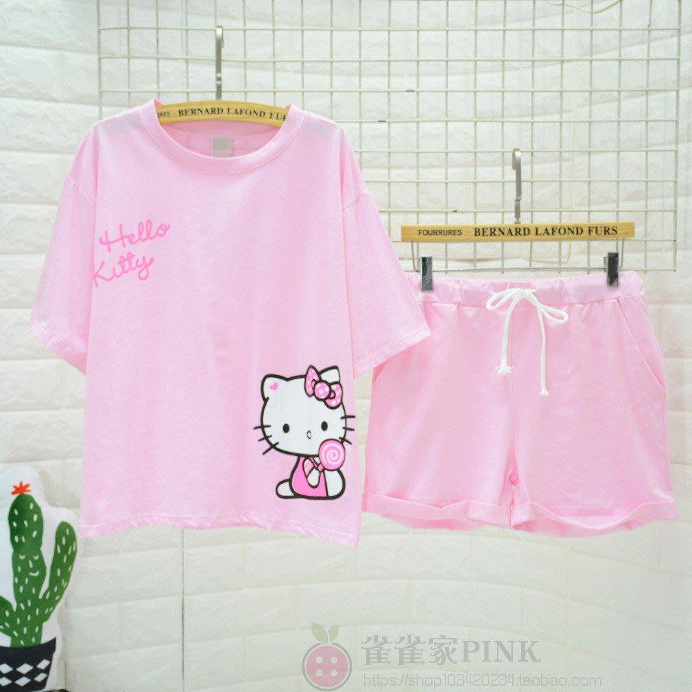 夏季新品貓咪holle kitty純棉短袖短褲睡衣套裝 KT貓女純棉家居服
