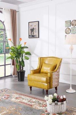 【大熊傢俱】A80 玫瑰系列 沙發椅  新古典 皮沙發 休閒椅 高背椅
