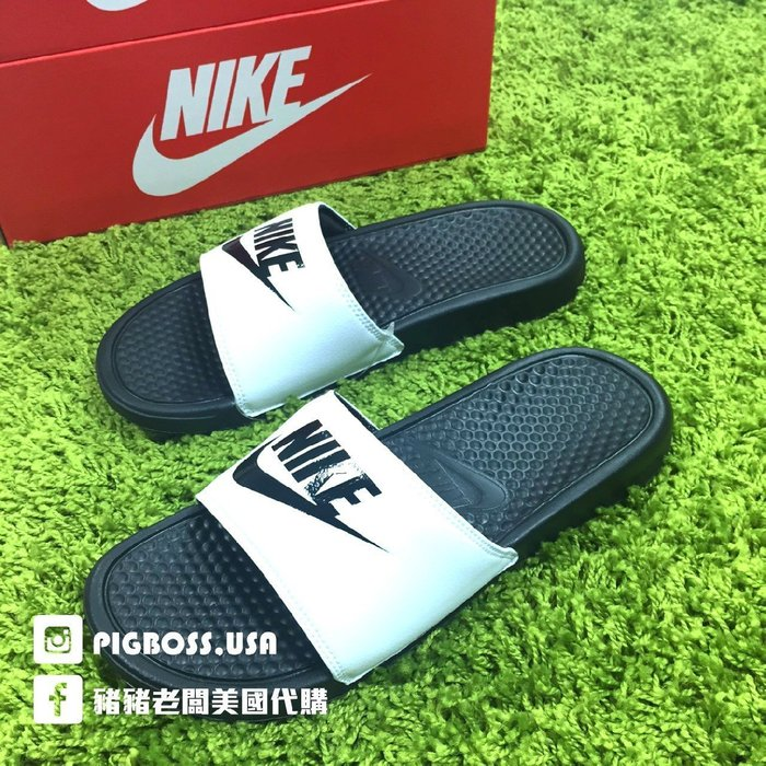 【豬豬老闆】NIKE BENASSI JDI【現貨在台兩雙免運】白底 黑字 白黑 拖鞋 男女鞋 23cm~29cm