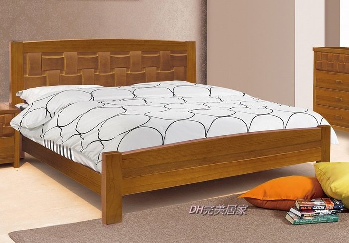 【DH】商品貨號N091-1《木之》5尺柚木實木雙人床架組/不含床頭櫃。備有六尺(同款系列套組。另計)主要地區免運費