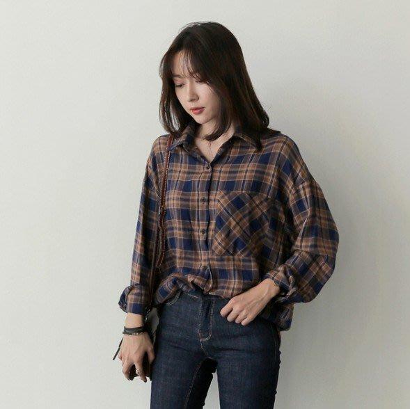 【現貨+預購R】2017韓版百搭經典格紋長袖襯衫