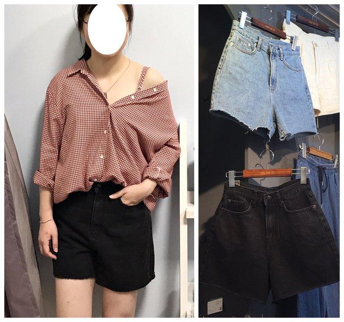 正韓【Meet Shop】Jul-33 下擺不修邊素面單寧短褲 高腰版型偏大 黑色 牛仔藍 S M L
