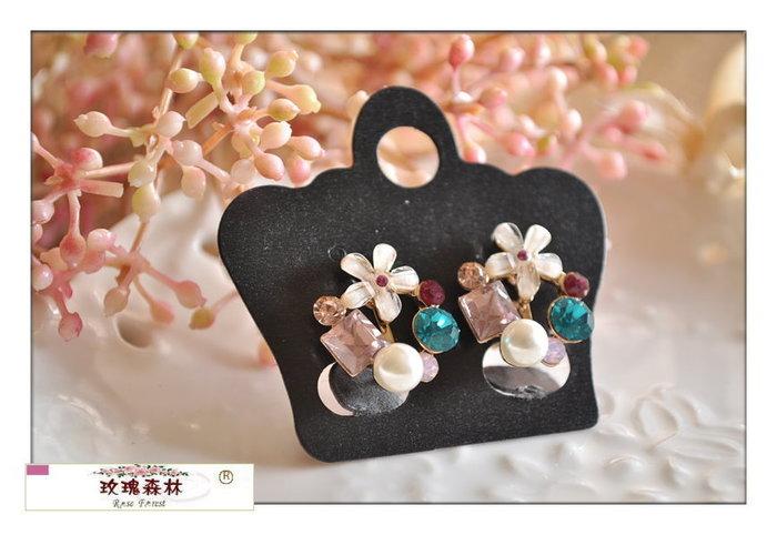玫瑰森林-- ☆°* 美麗嚴選~氣質溫柔感 精緻花朵 珍珠彩鑽 耳夾式無耳洞耳環