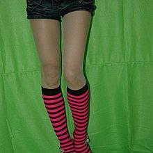 Leg Avenue 條紋膝蓋長度女襪  黑 亮粉紅 Y3345577