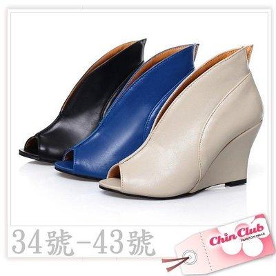 大小尺碼圓頭 楔型 露趾高跟鞋 踝靴 歐風V口修飾腿型時尚單鞋☆↖ChinClub↗☆34號~43號[5015]預購