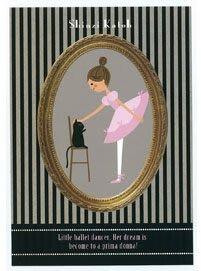 芭蕾小棧生日畢業表演禮物日本進口Shinzi Katoh加藤真治明信片書籤舞者條紋黑貓