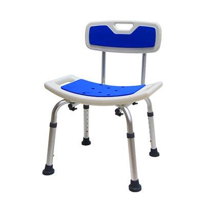有背洗澡椅, EVA膠墊坐的舒適, U型弧度坐墊設計, 拆卸組裝免工具, 五段高度可調整, 防滑腳管套, 新品免運