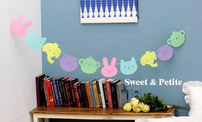 PR203❤小小動物園粉彩色系掛飾組❤ 生日吊飾掛飾拉旗 不織布拍照道具 嬰兒房婚禮場地商