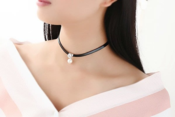 韓日流行飾品  珍珠水鑽皮繩項鍊