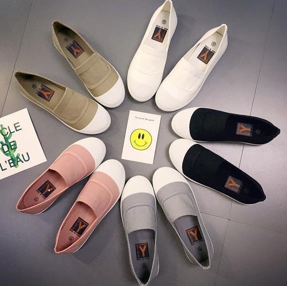 紫滕戀推出韓 新品軟底小白鞋特色休閒純色淺口女鞋帆布鞋 買一送一