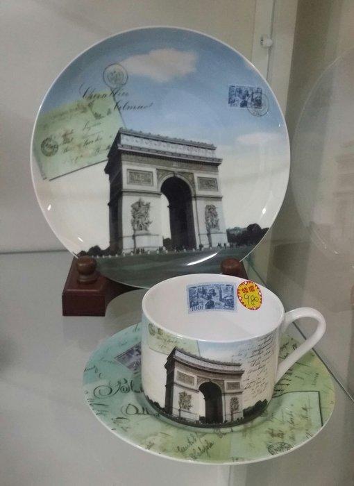 美生活館---全新進口經典巴黎景點骨瓷杯 咖啡杯三件組禮盒--凱旋門--促優 980元