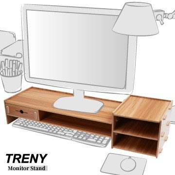 【TRENY直營】電腦螢幕增高架 (加厚加長-櫻桃木) 電腦螢幕收納架 螢幕架 鍵盤架 鍵盤收納 抽屜 5088E-C