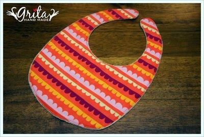 ♥grita's handmade♥純棉手作嬰幼兒圍兜兜/領巾/口水巾/三角巾/彌月禮—橘底波浪