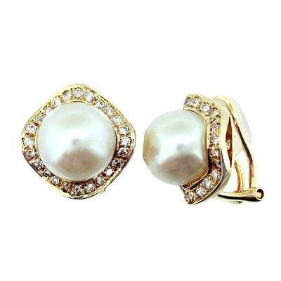 【JHT 金宏總珠寶/GIA鑽石專賣】11mm天然黃金珠鑽石耳環/材質:18K(JB42-A14)