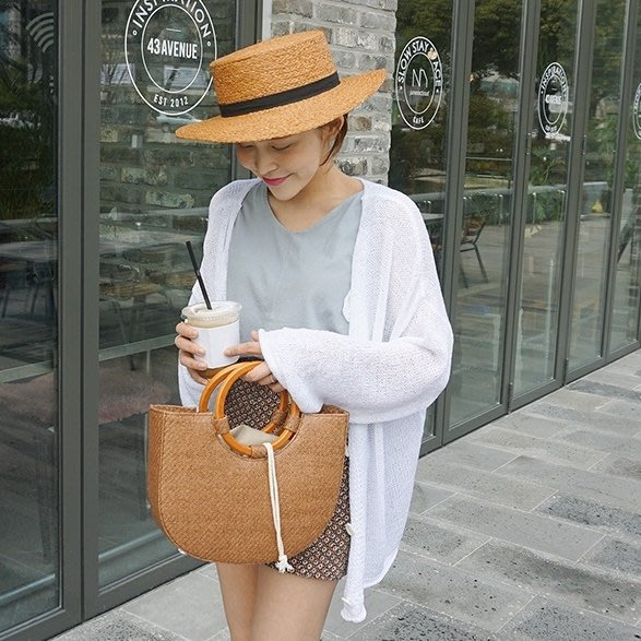Bellee  正韓 捲捲滾邊鈕扣針織罩衫 外套  防曬款式   (4色)  【GT51526】預購