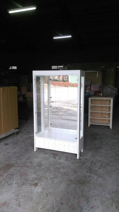 美生活館---客訂全原木材質-- 純白色 雙抽雙門 樂高櫃 玻璃展示櫃 櫥窗櫃 收納櫃 店面 民宿 自宅 餐廳 開店
